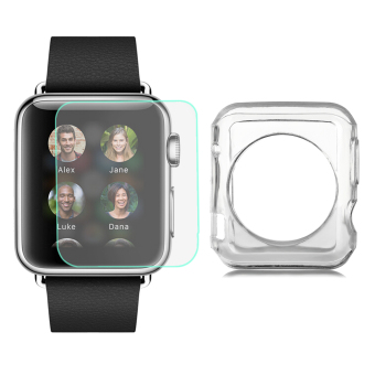 Mini Smile TPU Case + Tempered Glass Screen Protector Set for 42mm APPLE WATCH - Transparent