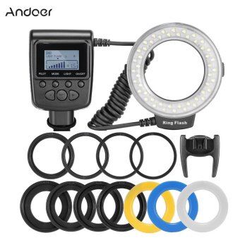 Harga Andoer RF-550D Macro 48 LED Ring Flash Light LCD Display Power Control for Canon Nikon Pentax Olympus Panasonic Sony DSLR (EXPORT)