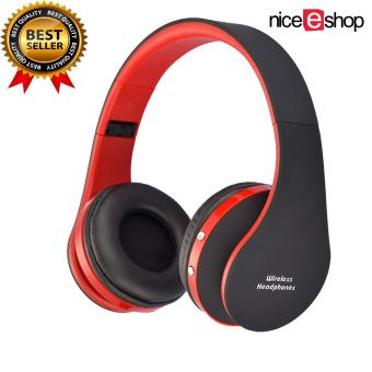Harga niceEshop Wireless Bluetooth Foldable Stereo Headset (Black/Red)(Export)