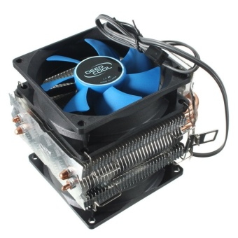 Harga Dual Fan CPU MIni Cooler Heatsink for Intel LGA775/1156/1155 AMDAM2/AM2+/AM3 (Blue/Black) - intl