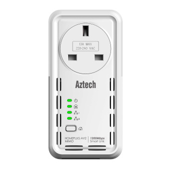 Harga Aztech SmartLink Homeplug AV2 1200Mbps Ethernet Adapter with Pass Through - HL129EP