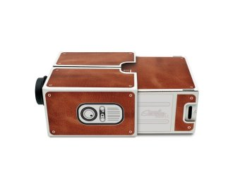 Portable DIY Cardboard Cinema Smartphone Mobile Phone Projector for iPhone 6 5s Sumsang (Brown) - 3