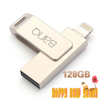 Harga 128G OTG USB Flash Drives Pen Drive For iPhone iPad iPod APPLE MFi JetDrive (Silver) - intl