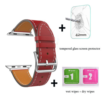 Harga Leather watch band Single Tour Bracelet strap For Apple Watch Iwatch Series 1 Series 2(42mm red) - intl