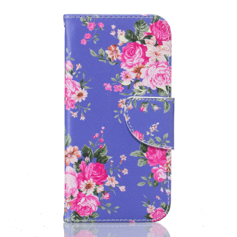 Harga PU Leather Case Flip Stand Cover For Apple iPhone 7 Plus (Peony)
