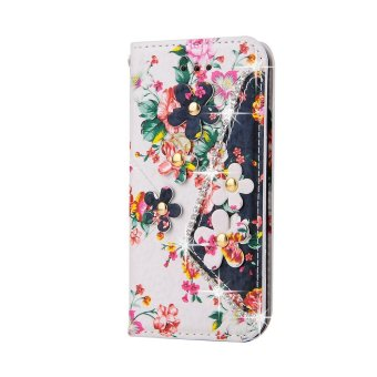 Harga Sony Xperia Z5 Compact Case, Elegant Flower Pattern with Bling-Bling Drill Flip Wallet Leather Case Cover for Sony Xperia Z5 Compact ( Color : 4 ) - intl