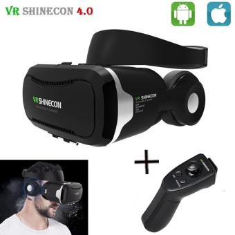 "Harga Shinecon VR 4.0 Virtual Reality 3D Glasses Headset VR BOX +Headphone/Mic for 4.7-6.0"" Mobile Smartphone +Original Controller - intl"