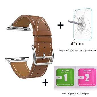Harga Leather watch band Single Tour Bracelet strap For Apple Watch Iwatch Series 1 Series 2(42mm brown) - intl
