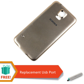 Harga Replacement White Battery Door Back Cover with Rubber Seal Waterproof Gasket For Samsung Galaxy S5 (Gold) Free Replacement USB Prot