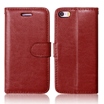 Harga Moonmini Leather PU Case Flip Stand Wallet Cover for Apple iPhone 5 5S SE - Brown - intl