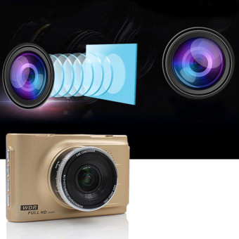 Harga Car Cameras HD Car DVR Car Camera Video Recorder Dash Cam Camcorder (Gold)