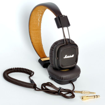 Harga Genuine Marshall Major headphones With Mic Deep Bass DJ HiFi Headset Professional DJ Monitor (Brown)