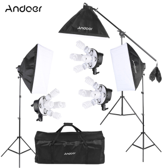 Harga Andoer Studio Photo Video Softbox Lighting Kit Photo Equipment(15 * 45W Bulb / 3 * 5in1 Bulb Socket / 3 * Softbox / 3 * Light Stand / 1 * Cantilever Stick / 1 * Carrying Bag - intl