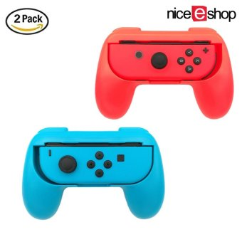 Harga niceEshop 2 Pack Nintendo Switch Joy-Con Grips Controller, Wear-resistant Joy-con Handle Accessory Kit For Nintendo Switch, Blue And Red - intl