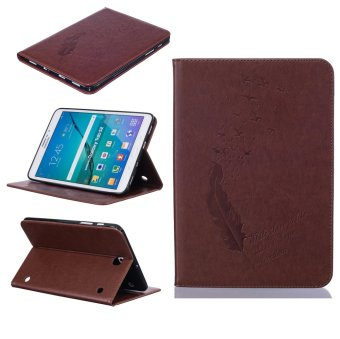 Harga Feather PU Leather Case Flip Wallet Stand Cover for Samsung Galaxy Tab S2 8.0 SM-T715 (Brown)