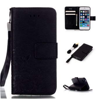 Harga Moonmini PU Leather Case Flip Stand With Wallet Card Slots Cover For Apple iPhone SE 5SE 5 5S (Black)