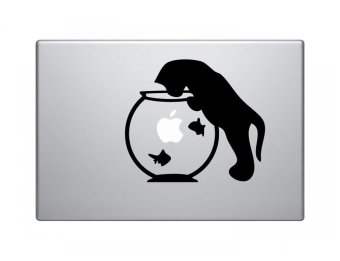 Harga yuwen Cat Fish Bowl Funny Kitty Vinyl Decal Sticker For Apple Macbook Pro Air Mac