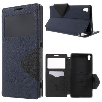 Harga ROAR KOREA Diary View Window Leather Cover for Sony Xperia Z5 Premium / Premium Dual - Dark Blue - intl
