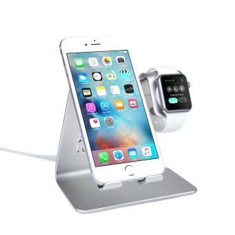 Bestand 2 in 1 Phone Desktop Tablet Stand & Apple Watch Charging Stand Holder for Apple iWatch/ iPhone/ ipad (Upscale Silver) - Intl