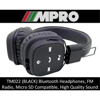 Harga TM022 Wireless Bluetooth Over-Ear Headphones, Micro SD Card Support, Handsfree Stereo Headset (SINGAPORE SELLER) (BLACK)