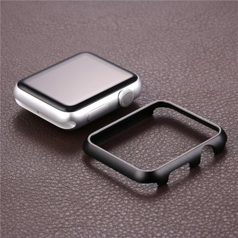 Hard Aluminum Plated Protective Bumper Shell for Apple Watch SERIES 1 42mm All Model Cover Case(Black) - 3