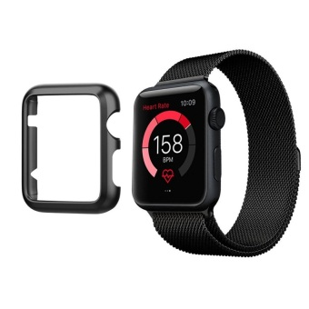 Hard Aluminum Plated Protective Bumper Shell for Apple Watch SERIES 1 42mm All Model Cover Case(Black) - 5