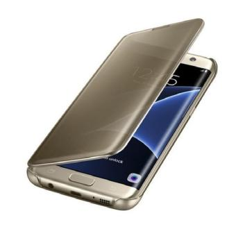 Clear View Leather Flip Case Casing Cover for Samsung Galaxy S7Edge (Gold)