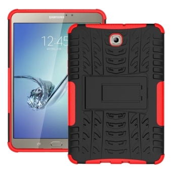 Harga Moonmini Silicone High Impact Rugged Shockproof Case Cover with Kickstand for Samsung Galaxy Tab S2 8.0 T710 (Red)