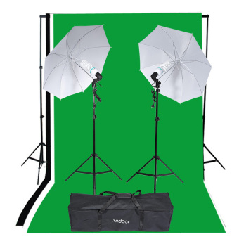 Harga Andoer Photography Studio Portrait Product Light Lighting Tent Kit Photo Video Equipment (2 * 135W Bulb+2 * Bulb Holder+2 * Reflective Shooting-through Umbrella+3 * Backdrops+1* Backdrop stand+2 * Tripod Stands+1* Carrying Bag) - Intl