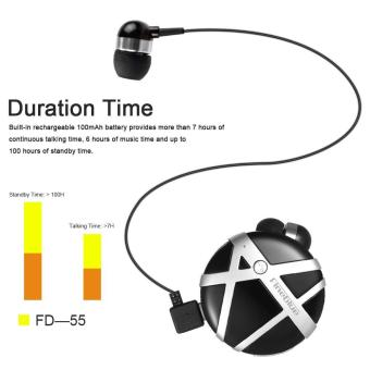 Harga Fineblue FD-55 Clip-on Wireless Bluetooth Headphones Anti-lost In-ear Stereo Music Headsets Hands-free Calling Earphone Black with Silver - intl