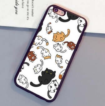 Harga Lovely Cat Neko atsume Printed Soft Rubber Skin Mobile Phone Cases Bags For iPhone 6 6S - intl
