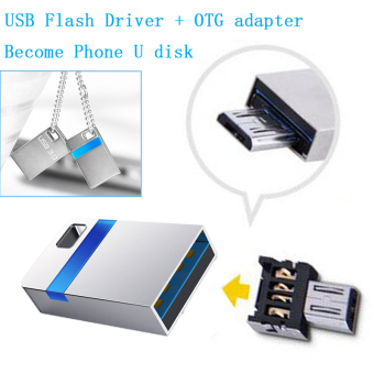 Harga 32GB High Speed Mini USB 3.0 Flash Drive Memory Stick Waterproof Metal Tiny Pen Drive + OTG adapter - intl