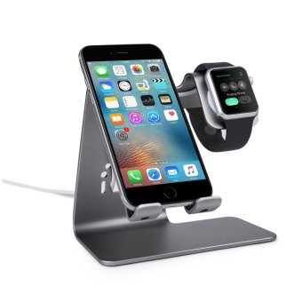 Bestand 2 in 1 Phone Desktop Tablet Stand & Apple Watch Charging Stand Holder for Apple iWatch/ iPhone/ ipad (Space Grey) - Intl