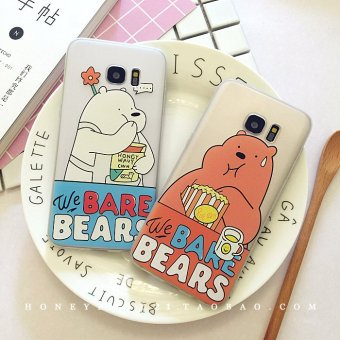 Harga Korea Cartoon samsung note5 S7edge s6 mobile phone shell protective sleeve scrub s6 inclusive soft shell surface shell 7