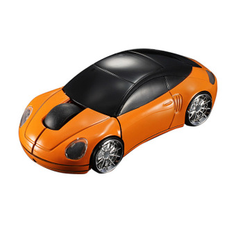 3D Wireless Optical 2.4G Car Shaped Mouse Mice 1600DPI USB For PC laptop Orange
