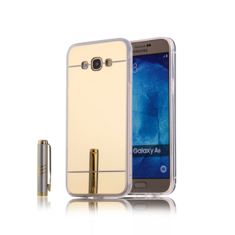 Harga TPU Bumper Frame Mirror Effect PC Case Cover For Samsung Galaxy A8 (Golden)