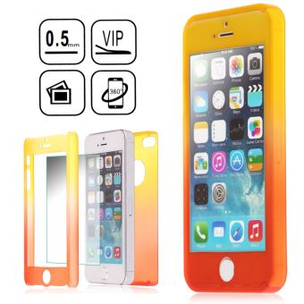 Harga 360 Full Hybrid Tempered Glass + Acrylic Hard Case Cover For iPhone SE 5S 5 (Orange+Red)