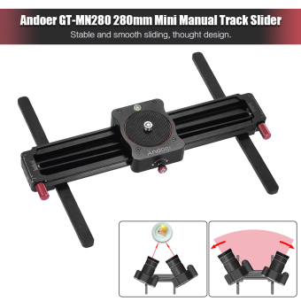 Harga Andoer GT-MN280 280mm Mini Manual Track Slider Follow Focus & Wide-angle Shooting Camera Video Slider 190mm Sliding Distance for GoPro Action Camera Smartphone Pocket Camera Lightweight Camera Outdoorfree