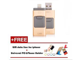 Harga 8GB i-Easy Drive 3 in 1 Phone Flash Drive/Smart Otg Usb Memory stick For iPhone 5/6s/6 plus/7/7 plus iPad PC+Mobile phone bracket + usb flash cable_gold - intl