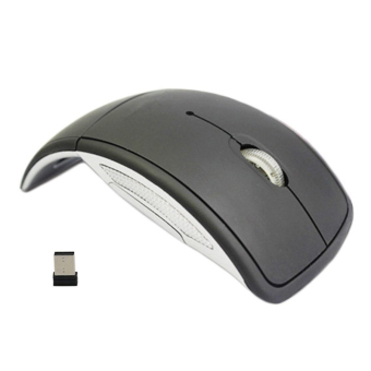 Harga YBC Foldable Wireless Arc Optical Mouse with Mini USB Receiver for Computer Black