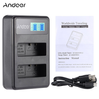 Harga Andoer EN-EL14 EN-EL14A Rechargeable Charger Pack LED Display 2-Slot USB Cable Kit for Nikon D3100 D3200 D3300 D5100 D5200 D5300 D5500 DF Coolpix P7000 P7100 P7700 P7800 DSLR Camera - intl