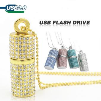 Harga MITPS Usb flash drive 256GB pen drive USB 2.0 drive Diamond Crystal Memory Necklace Stick(Silver) - intl