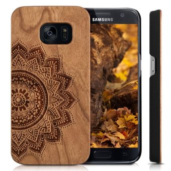 Harga Wooden Case for Samsung Galaxy S6 [G9200] , Wood Smartphone Case, YUANQIAN Unique Handmade Natural Solid Wood Engraving Wave Case Wood Wave(flower)(Yellow)(OVERSEAS) - intl