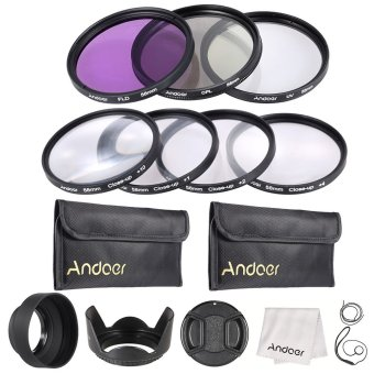 Harga Andoer 58mm UV + CPL + FLD + Close-up(+1+2+4+10) Camera Lens Filter Kit
