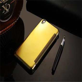 Smart Sleep Mirror Leather Case Cover For Oppo R9 Plus (Gold) - intl - 2