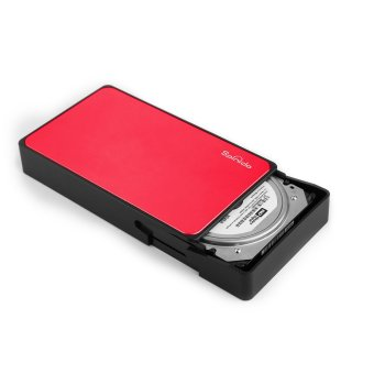 Spinido Support UASP SATA III USB 3.0/2.0 Aluminum External Tool-free Hard Disk Drive Enclosure & Mobile Device Optimized For 3.5 Inch HDD (Red) - with US electrical plugs