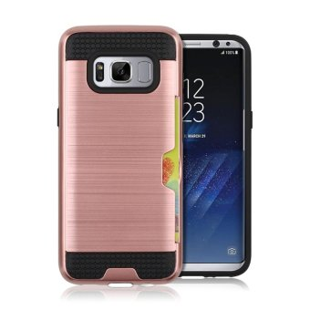 Harga Metal color case for Samsung galaxy S8 with credit card slot 2 in 1 tpu & plastic Double layer Shockproof protector - intl