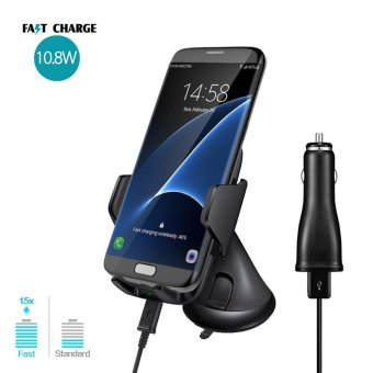 Harga Qi Wireless Fast Car Charger Vent Mount Vehicle Dock 10.8W Charging Stand for Samsung Galaxy S8 / S8+ / S7 / S7 Edge / S6 Edge Plus / Note 5 - intl