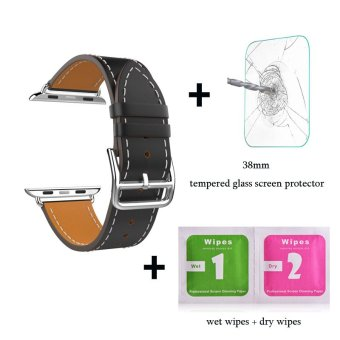 Harga Leather watch band Single Tour Bracelet strap For Apple Watch Iwatch Series 1 Series 2(38mm black) - intl