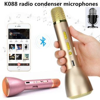 Harga Universal Bluetooth Wireless Microphone Portable Mic KTV Compatible with IOS and Android Smartphone for Music Playing Singing Record Anytime Anyplace(Tyrants Gold)